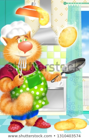 Cat chef cook fry pancakes in a frying pan. Russian holiday Shrovetide Forgiveness Sunday Stock photo © orensila