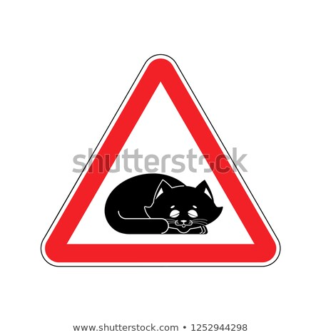 Attention Sleeping cat. Caution pet. Red triangle road sign Stock photo © popaukropa
