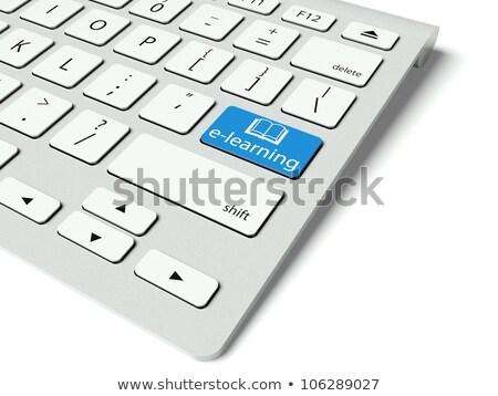 Kék online oktatás numerikus billentyűzet billentyűzet 3D közelkép Stock fotó © tashatuvango