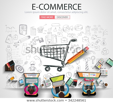 online shopping concept with business doodle design style onlin stock photo © davidarts