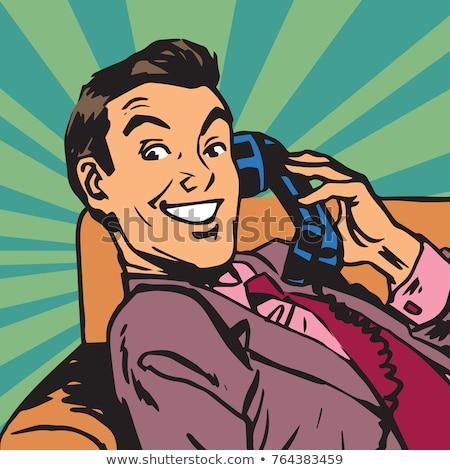 Portré férfi retro telefon pop art arc Stock fotó © studiostoks