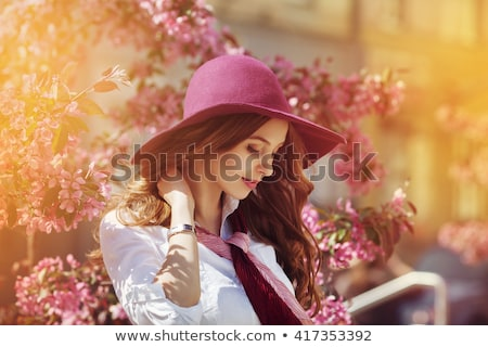 dreaming young girl posing at street stock photo © dash