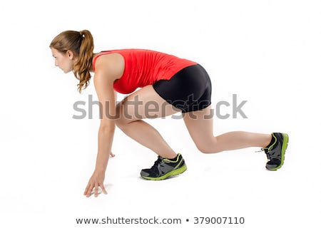 Woman Runners Crouch, Ready to Sprint, Isolated Stock photo © Qingwa