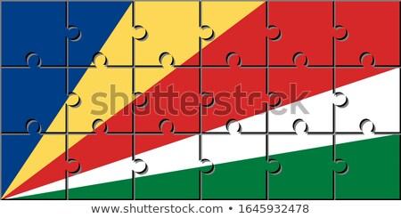 puzzle flag of seychelles isolated on white stock photo © mikhailmishchenko