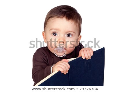 belo · bebê · chupeta · leitura · isolado · branco - foto stock © Gelpi