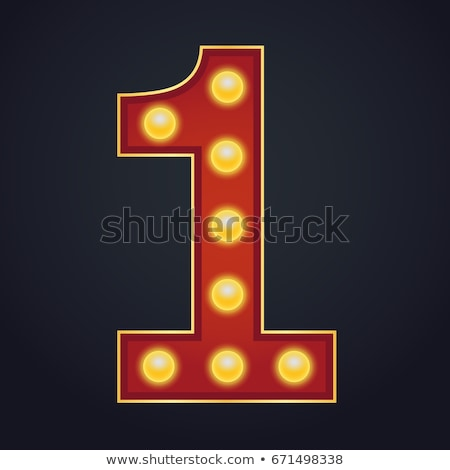 1 Number Vector. One Font Marquee Light Sign. Realistic Retro Shine Lamp Bulb. 3D Electric Glowing D Stock photo © pikepicture