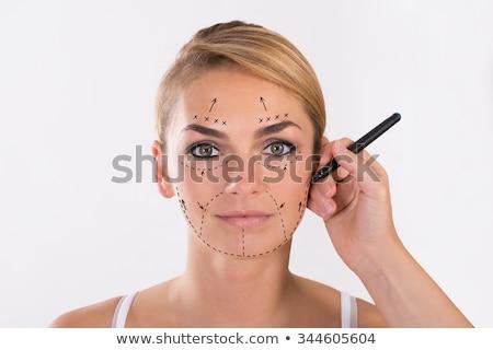 женщину пластическая хирургия изолированный белый стороны лице Сток-фото © Elnur