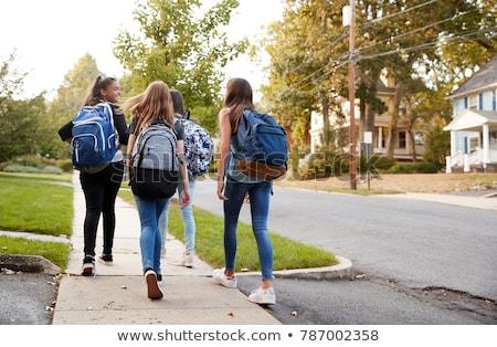 дети ходьбе тротуар иллюстрация девушки стены Сток-фото © bluering