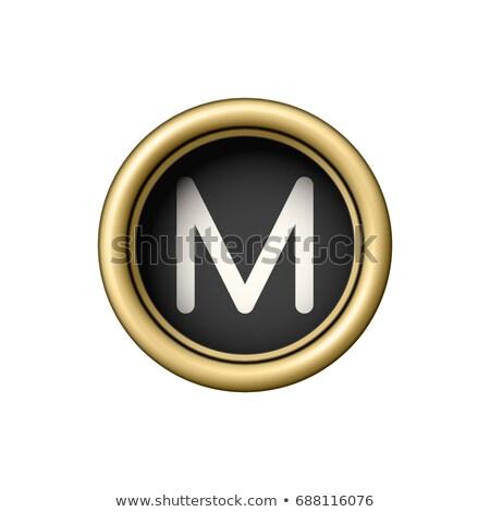 Mektup m bağbozumu altın daktilo düğme yalıtılmış Stok fotoğraf © pakete
