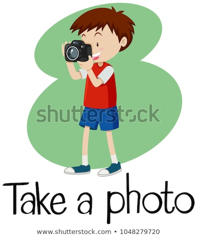 Wordcard for take a photo with boy taking photo with camera Stock photo © bluering