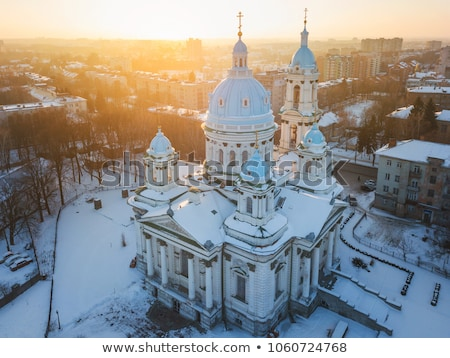 aerial view of the trinity orthodox cathedral sumy ukraine stock photo © vlad_star