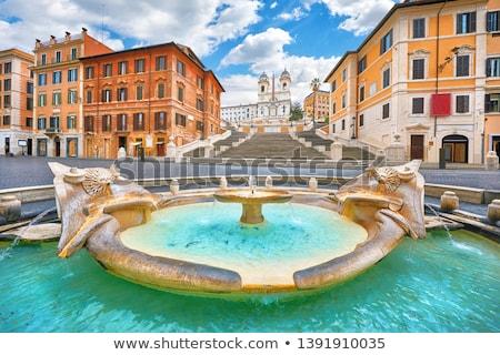Fontein Rome Italië stad kerk Blauw Stockfoto © Givaga