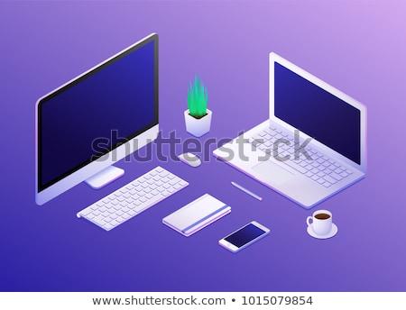 コンピュータ · 技術 · 現代 · ベクトル · アイソメトリック · 実例 - ストックフォト © orensila