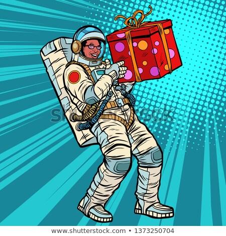 űrhajós ajándék doboz afroamerikai emberek izolált fehér Stock fotó © studiostoks