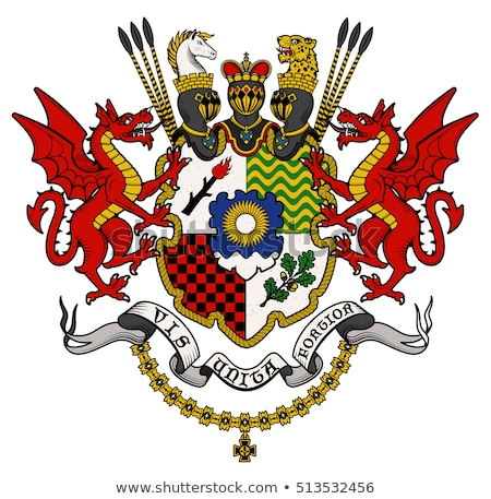 heraldic crest coat of arms dragon shield emblem stock photo © krisdog