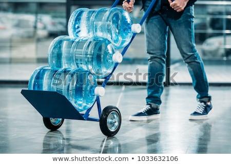 Víz házhozszállítás szolgáltatás illusztráció háttér teherautó Stock fotó © olegtoka