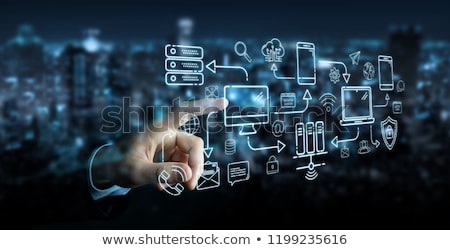 Stock photo: Tablet that shares multimedia with internet connection