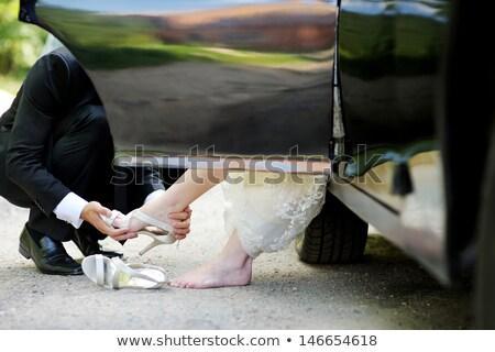 Stok fotoğraf: Düğün · ayakkabı · gelin · birlikte · buket · doğal