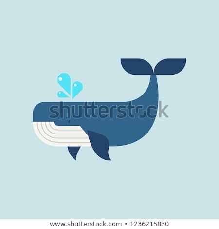 Cute walvis oceaan illustratie boom abstract Stockfoto © colematt