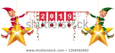 2019 year christmas decoration two elves holding banner Stock photo © orensila