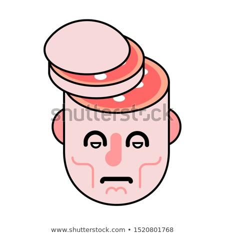 Cięcia głowie salami plaster mózgu czaszki Zdjęcia stock © MaryValery