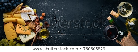 Camembert miel uvas vino blanco vidrio frutas Foto stock © Alex9500