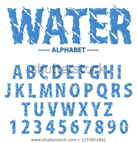 Water drops alphabet, Modern futuristic splash headline letters and numbers, abstract liquid font ty Stock photo © Andrei_