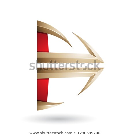Red and Beige Glossy Embossed Arrow Shape Vector Illustration Stock photo © cidepix