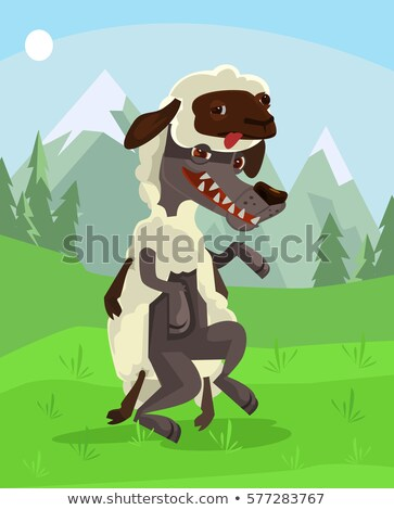 Cartoon wolf in sheeps clothing flat poster Stock photo © jossdiim
