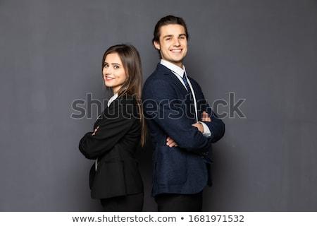 Stockfoto: Paar · zakenlieden · kantoor · gelukkig · werk · groep