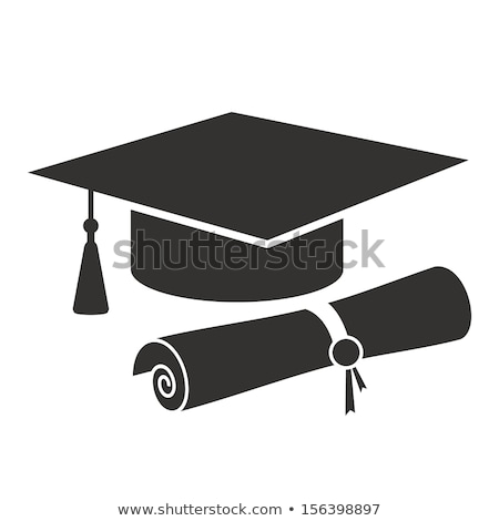 Diploma, Cap Vector. Graduation Cartificate. Degree Hat. Education Study. Isolated Flat Cartoon Illu Stock photo © pikepicture