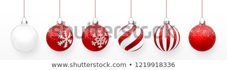 Stock photo: Transparent and Red Christmas ball with snow effect and red bow set. Xmas glass ball on white backgr