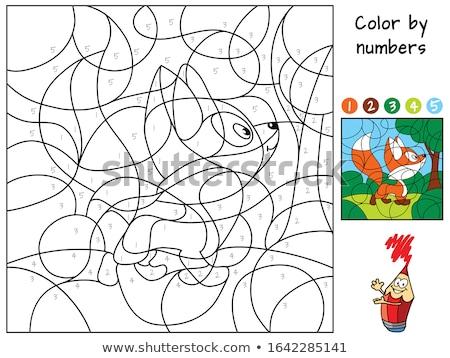 Animal number character worksheet Stock photo © colematt
