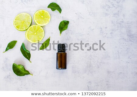 A bottle of lime essential oil with fresh limes Stock photo © madeleine_steinbach
