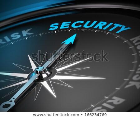 Kompas biały magnetyczny igły wskazując czerwony Zdjęcia stock © make