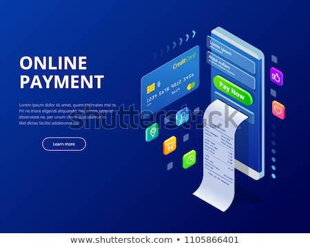 Foto stock: On-line · isométrica · loja · on-line · cartão · de · crédito