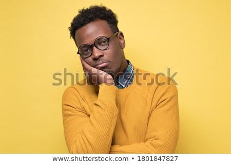 Portrait bouleversé homme chandail écharpe permanent Photo stock © deandrobot