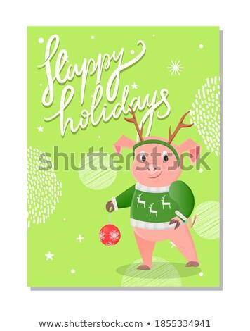新年好 明信片 豬 冬天 景觀 藍天 商業照片 © robuart