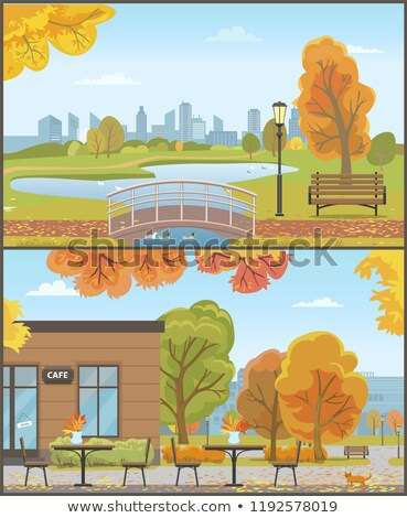Autumn City Park with Tables near Cafe Building Stock photo © robuart