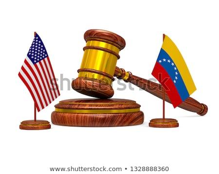 Bayrak Venezuela ABD ahşap tokmak beyaz Stok fotoğraf © ISerg