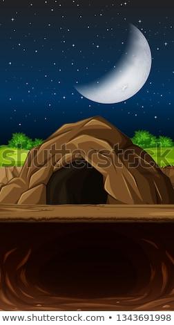 Cueva escena ilustración cielo árbol diseno Foto stock © bluering