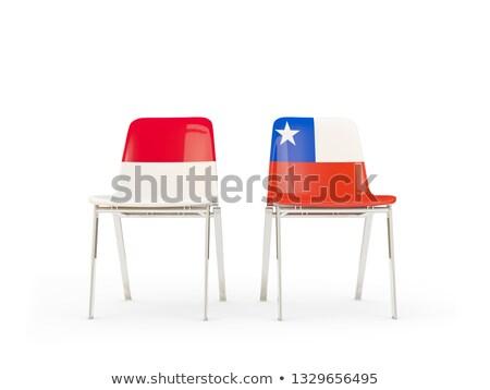 Kettő székek zászlók Indonézia Chile izolált Stock fotó © MikhailMishchenko