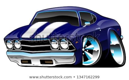 Foto stock: Classic American Muscle Car Cartoon Deep Cobalt Blue Vector Illustration