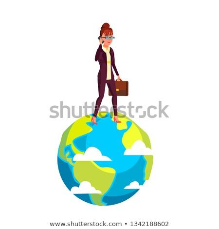 деловая женщина ходьбе планеты портфель стороны вектора Сток-фото © pikepicture