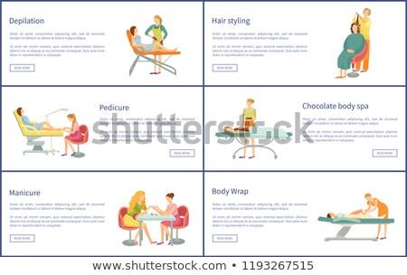Chocolate corpo estância termal manicure pôsteres vetor Foto stock © robuart