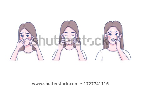 vector of woman squeezing acne stock photo © olllikeballoon