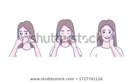 にきび · 少女 · 頬 · 女性 · 顔 · 悲しい - ストックフォト © olllikeballoon