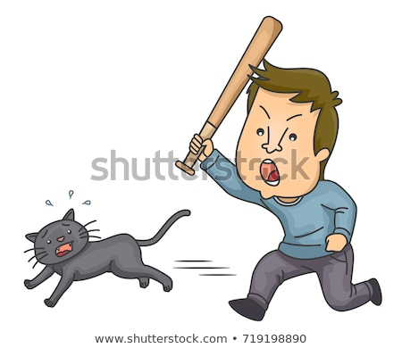 Man Animal Cruelty Cat Bat Illustration Stock photo © lenm