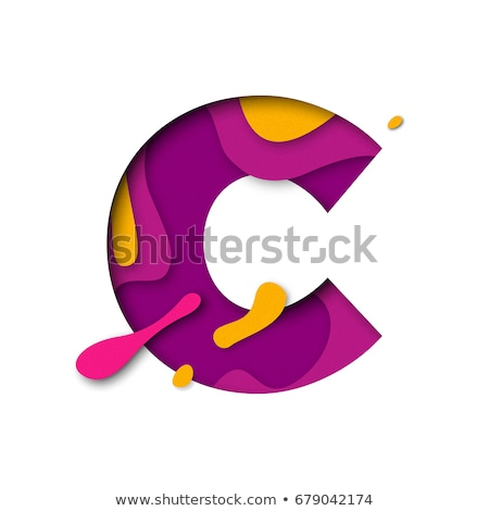 colorful paper cut out font letter c 3d stock photo © djmilic