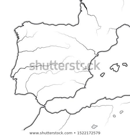 Map of The SPANISH Lands: Spain, Portugal, Catalonia, Iberia, The Pyrenees. Geographic chart. Stock photo © Glasaigh